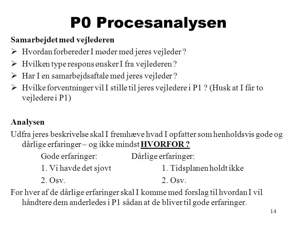 P0 Procesanalysen Samarbejdet med vejlederen