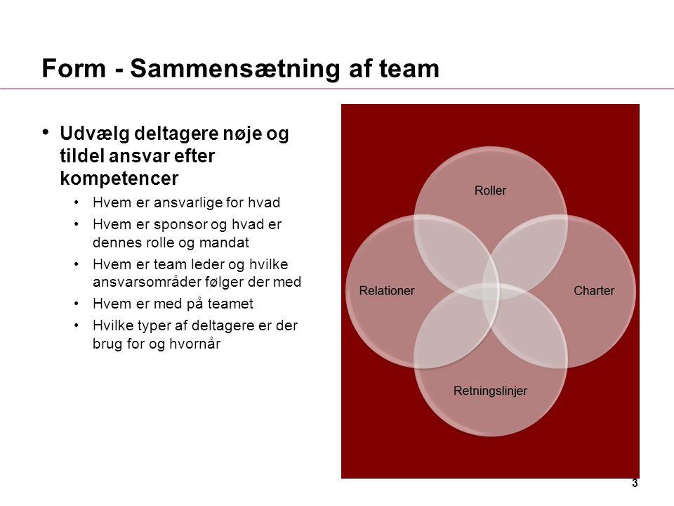 Form - Sammensætning af team