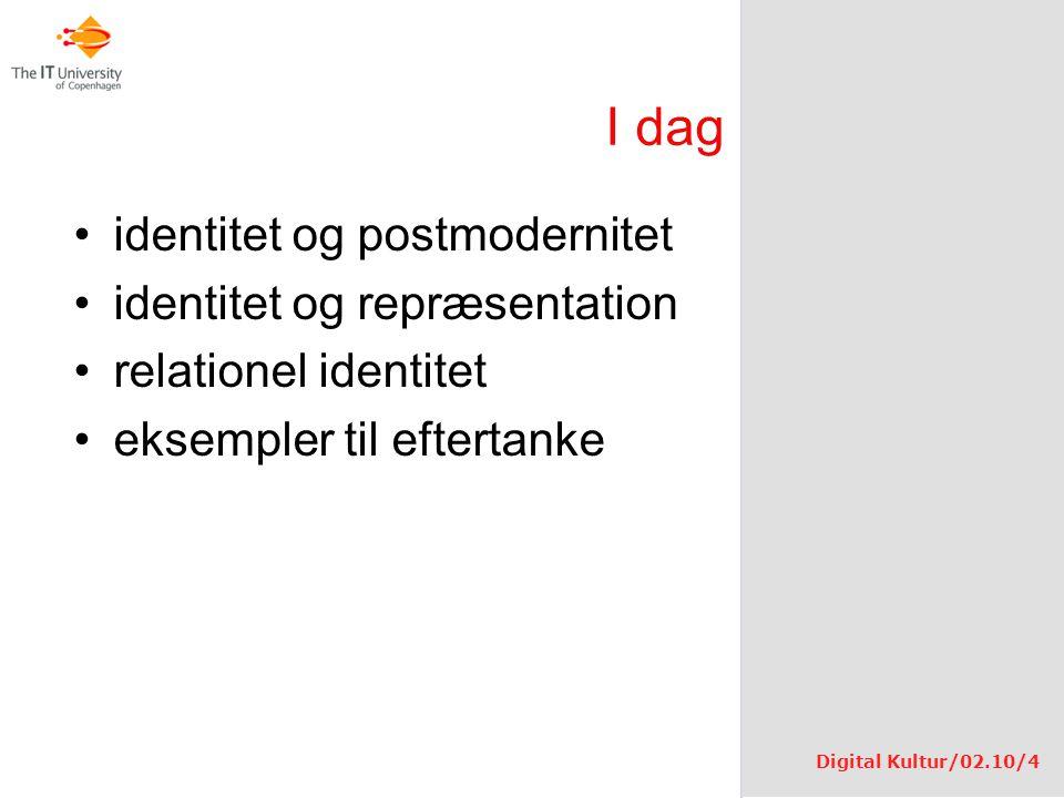 I dag identitet og postmodernitet identitet og repræsentation