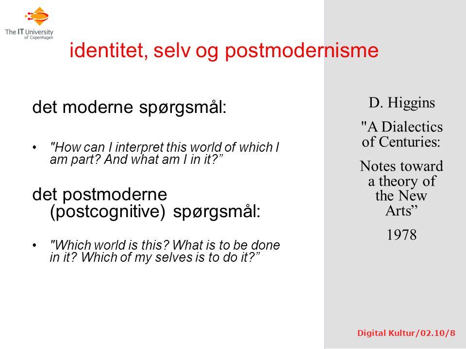 identitet, selv og postmodernisme