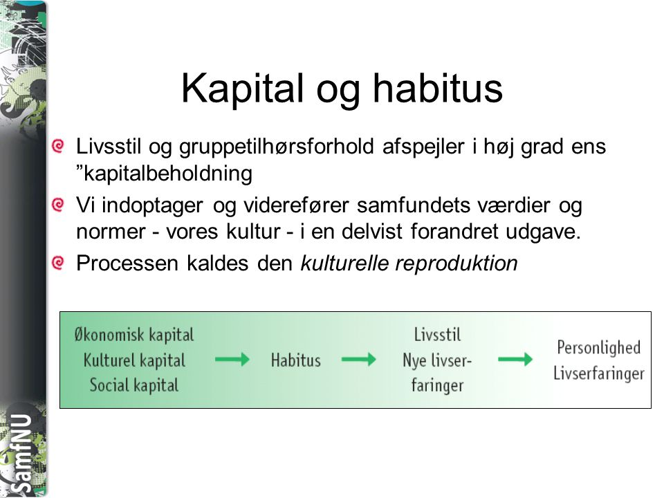 Kapital og habitus Livsstil og gruppetilhørsforhold afspejler i høj grad ens kapitalbeholdning.