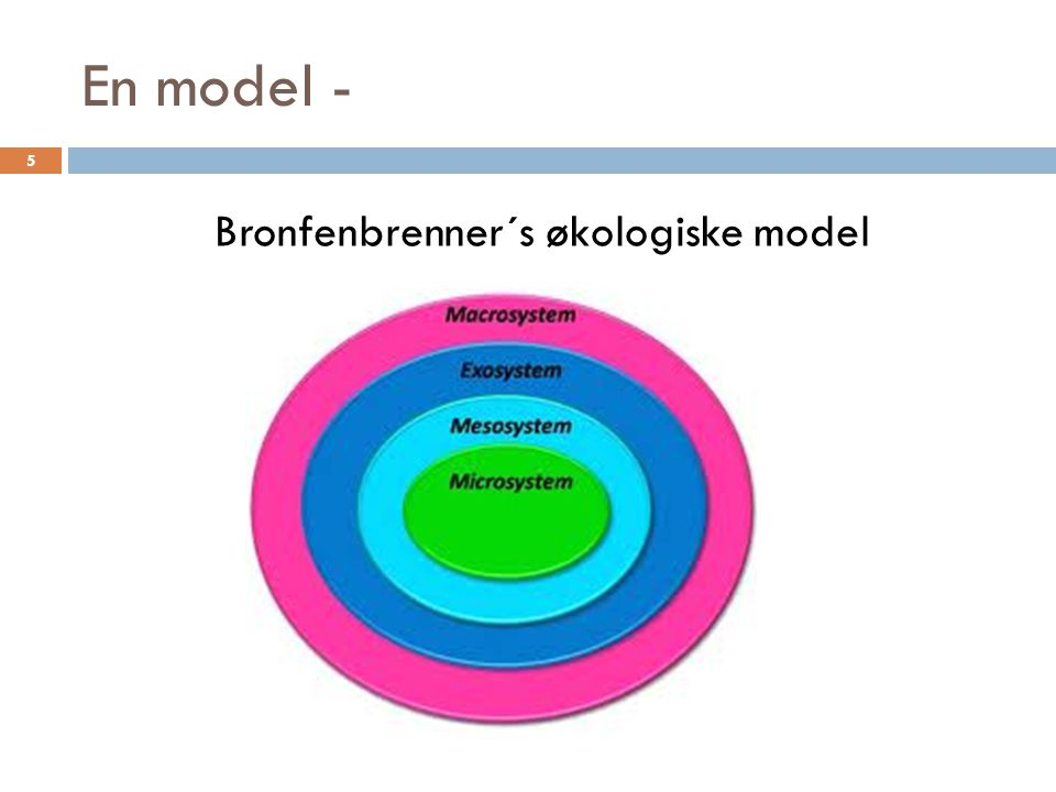 En model - Bronfenbrenner´s økologiske model