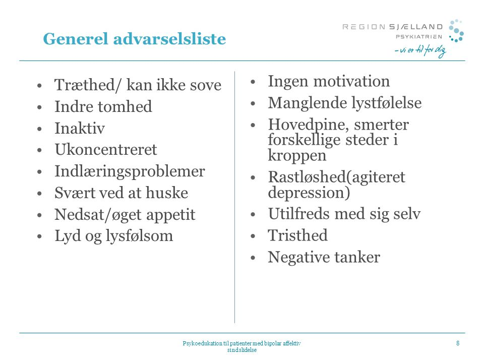 Generel advarselsliste