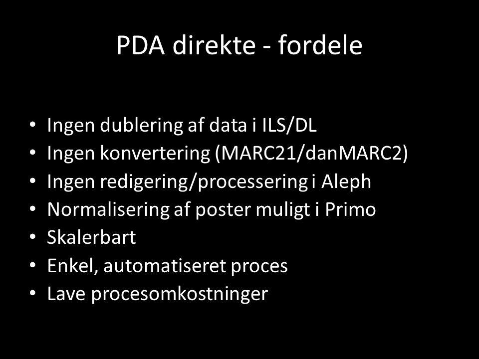 PDA direkte - fordele Ingen dublering af data i ILS/DL