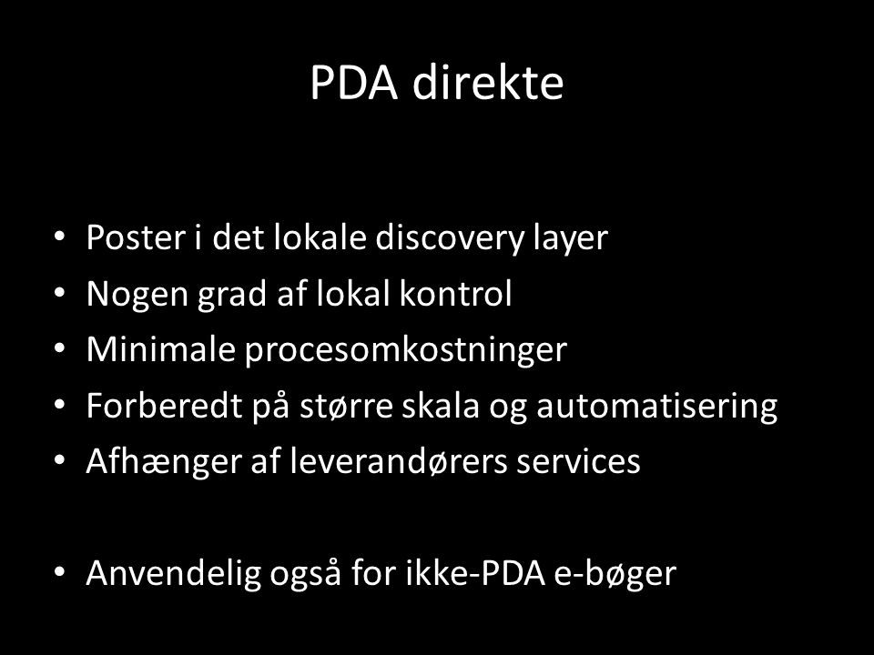PDA direkte Poster i det lokale discovery layer