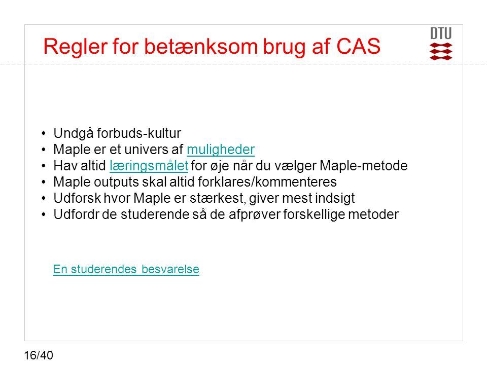 Regler for betænksom brug af CAS