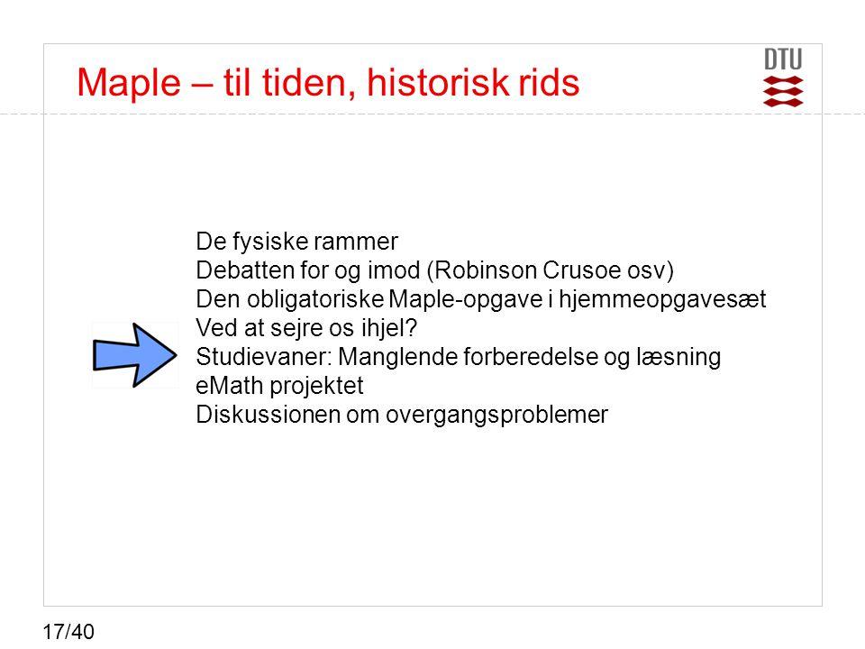 Maple – til tiden, historisk rids