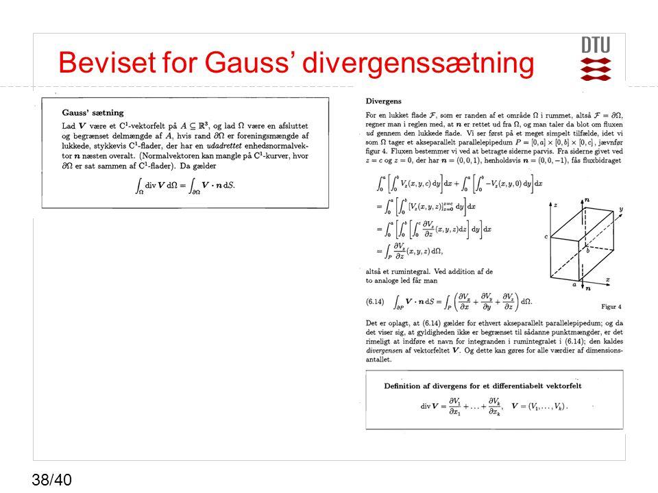 Beviset for Gauss' divergenssætning