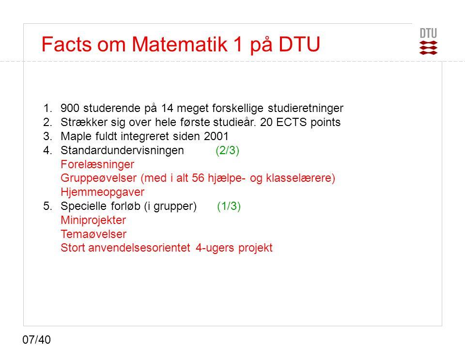 Facts om Matematik 1 på DTU
