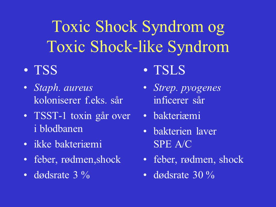 Toxic Shock Syndrom og Toxic Shock-like Syndrom