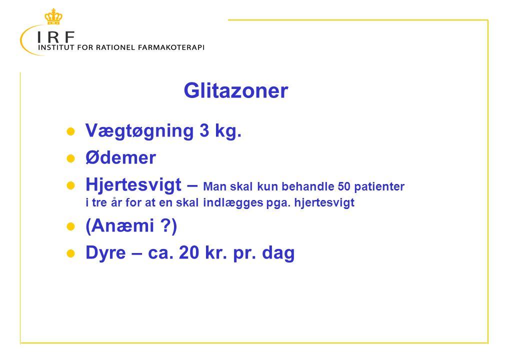 Glitazoner Vægtøgning 3 kg. Ødemer