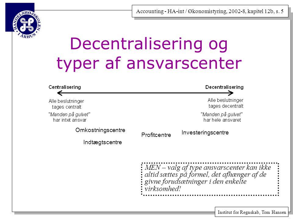 Decentralisering og typer af ansvarscenter