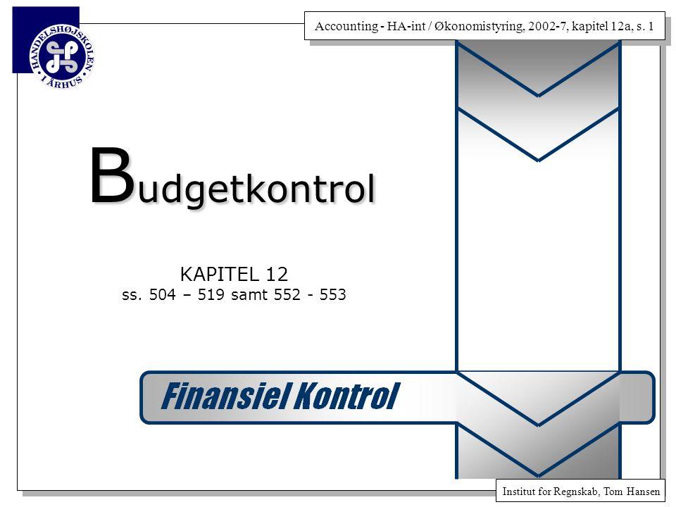 Budgetkontrol KAPITEL 12 ss. 504 – 519 samt 552 - 553