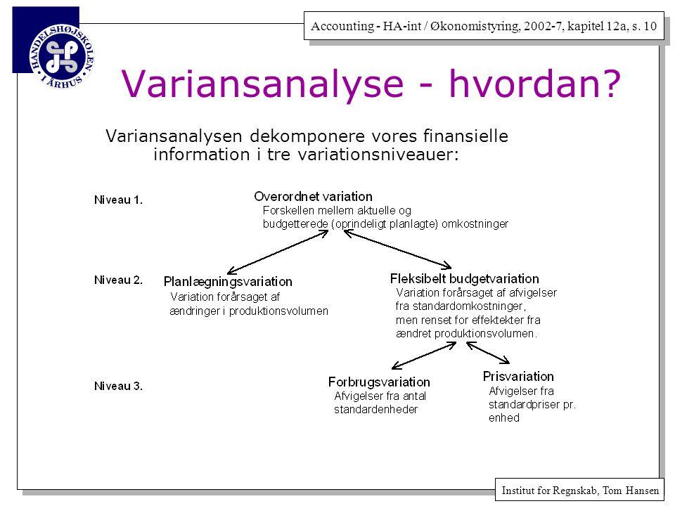 Variansanalyse - hvordan