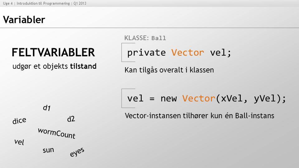FELTVARIABLER Variabler private Vector vel;