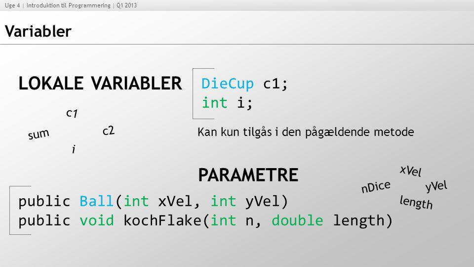LOKALE VARIABLER PARAMETRE Variabler DieCup c1; int i;