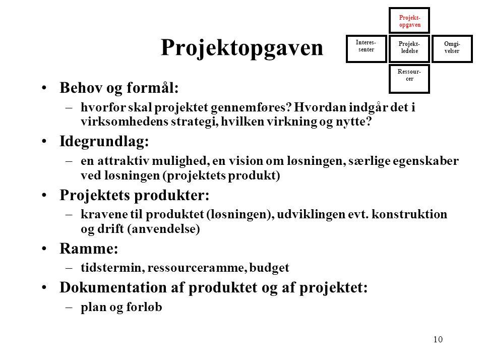 Projektopgaven Behov og formål: Idegrundlag: Projektets produkter:
