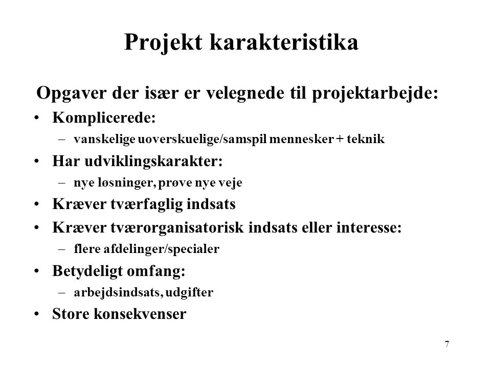Projekt karakteristika