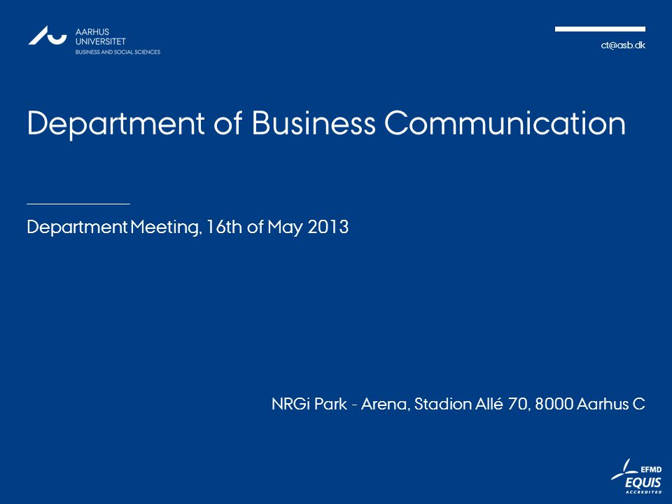 Department of Business Communication