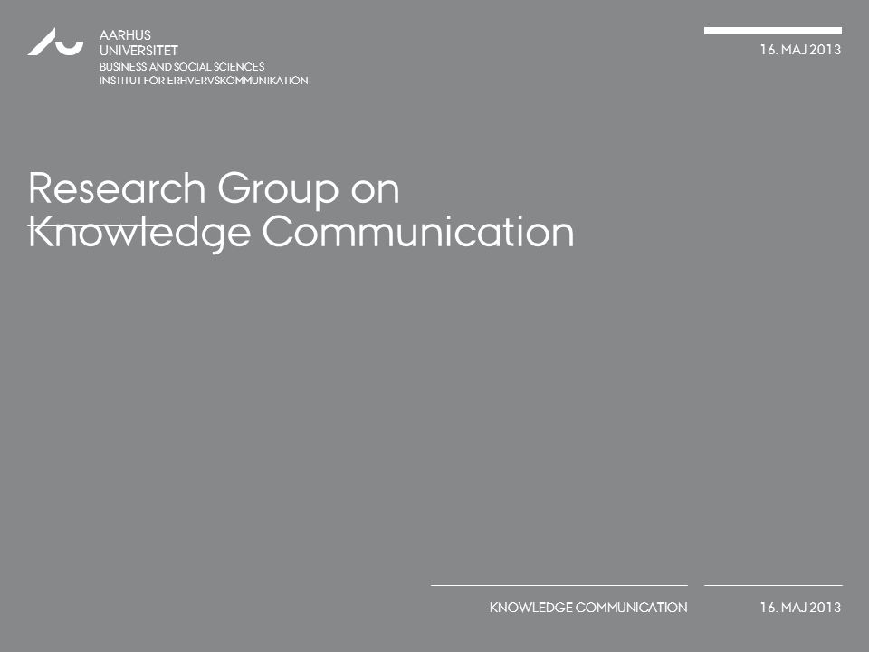 Research Group on Knowledge Communication