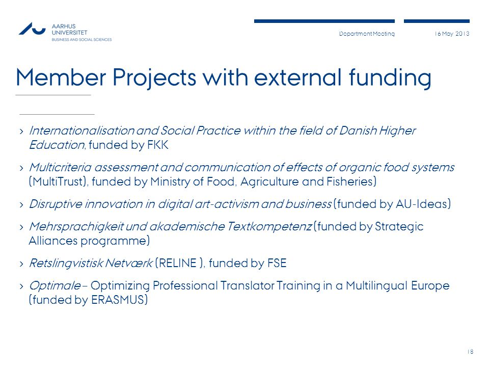 Member Projects with external funding