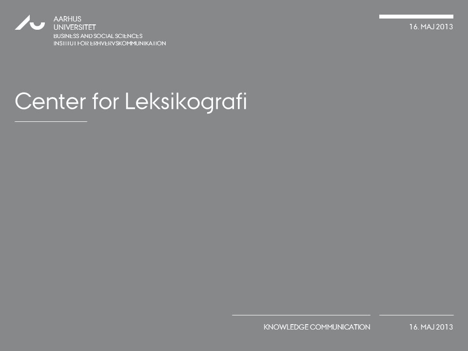 Center for Leksikografi