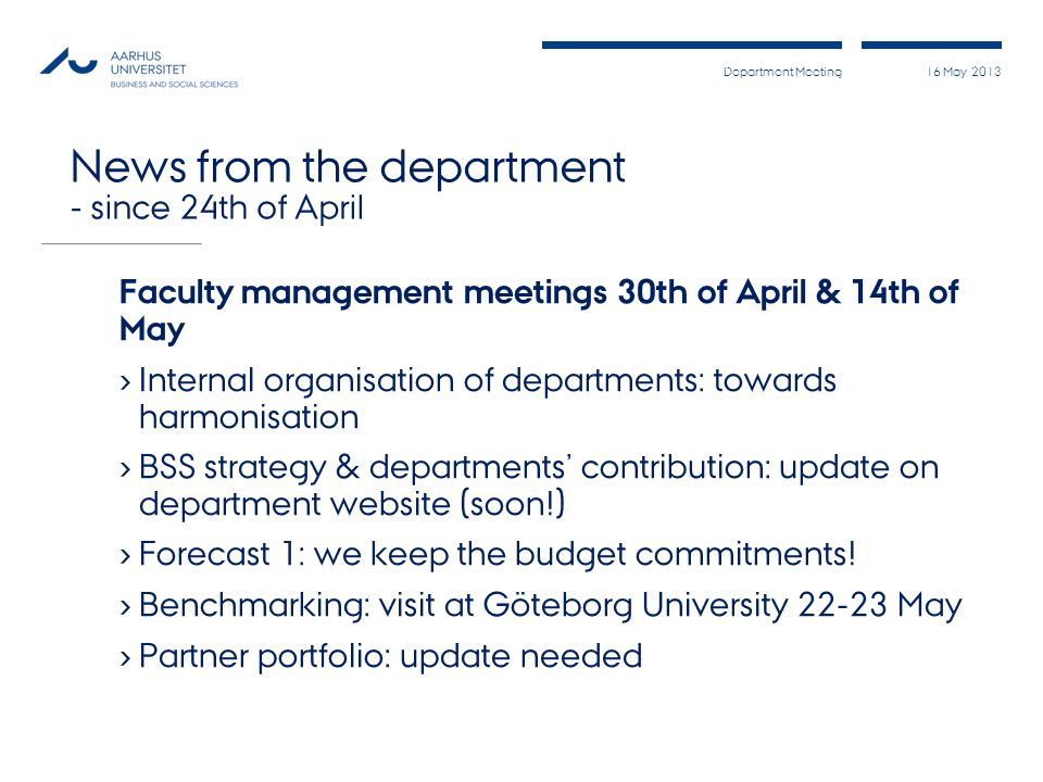 News from the department - since 24th of April