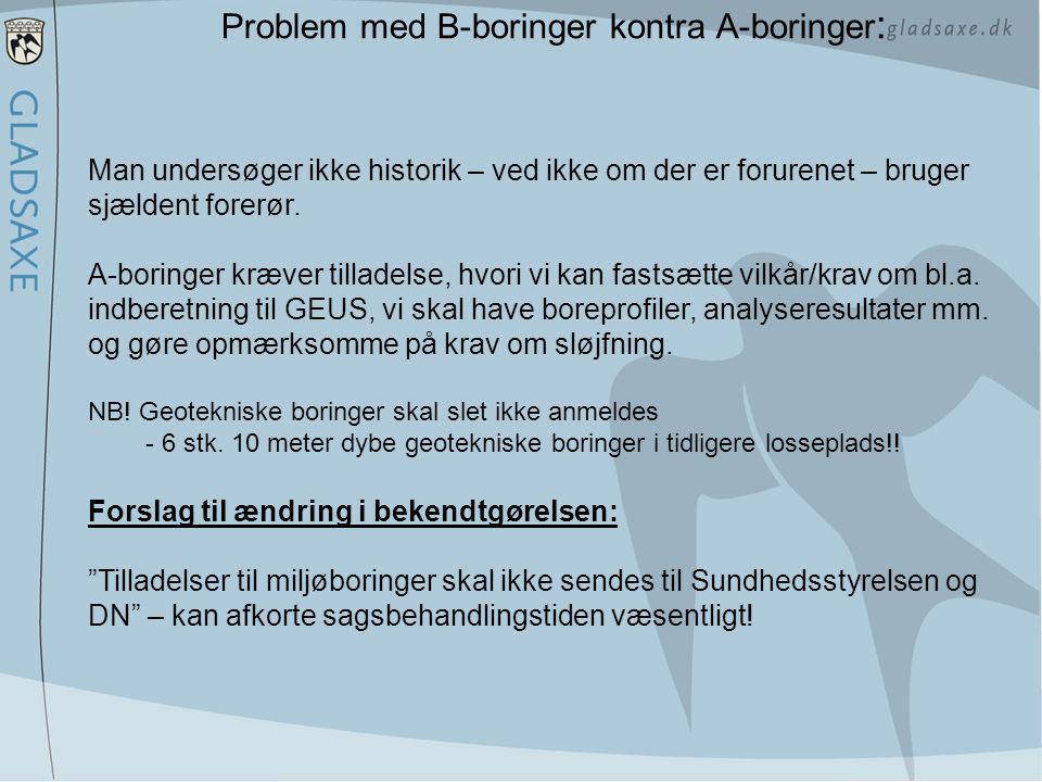 Problem med B-boringer kontra A-boringer: