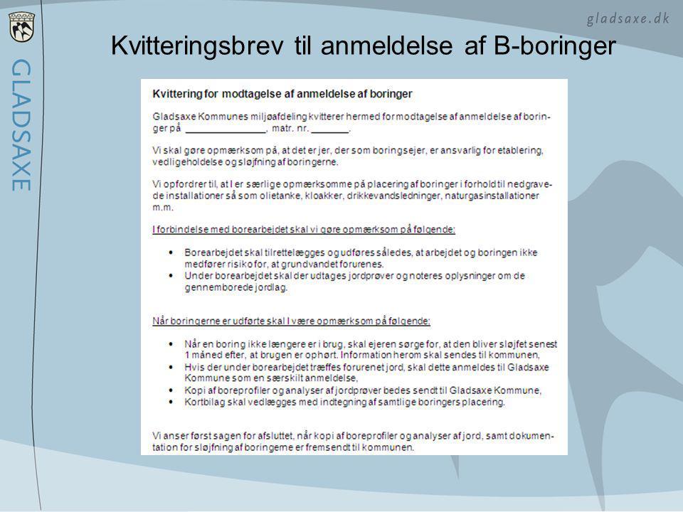 Kvitteringsbrev til anmeldelse af B-boringer