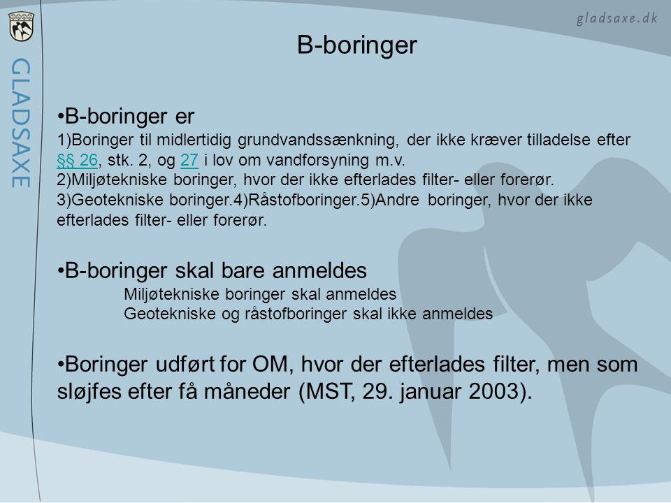 B-boringer B-boringer er B-boringer skal bare anmeldes
