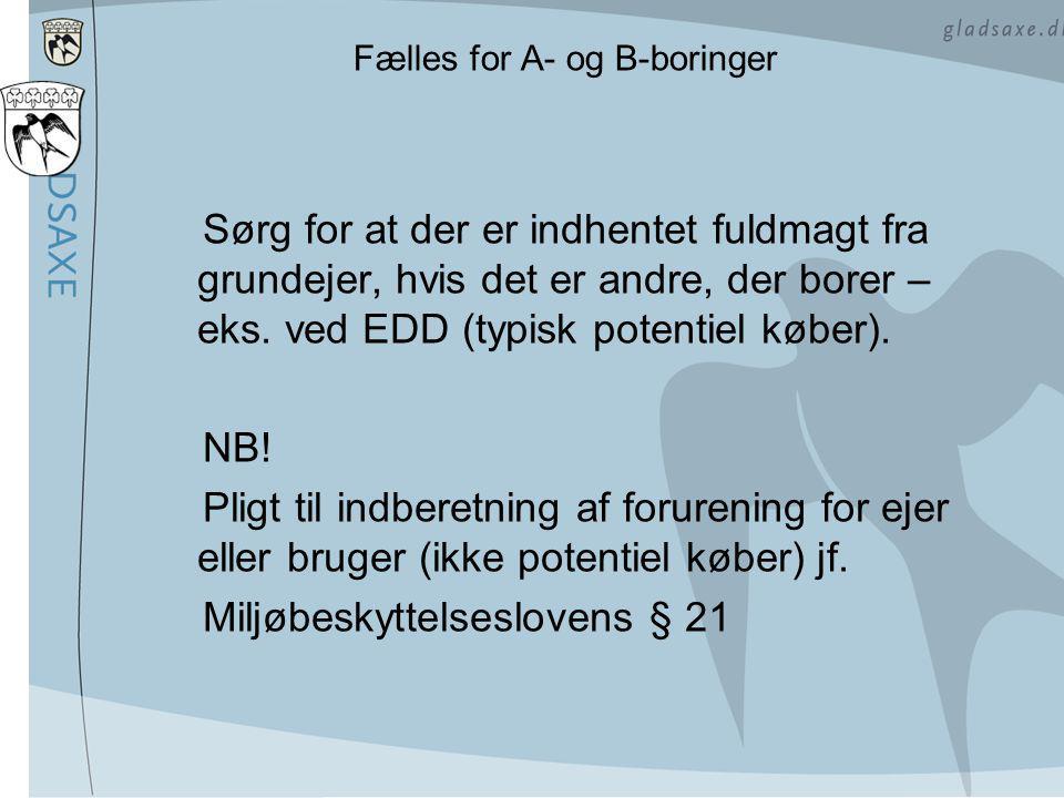 Fælles for A- og B-boringer