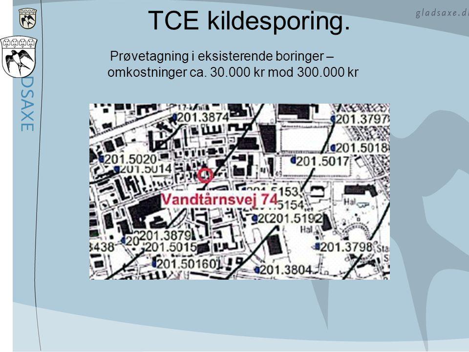 TCE kildesporing. Prøvetagning i eksisterende boringer – omkostninger ca. 30.000 kr mod 300.000 kr