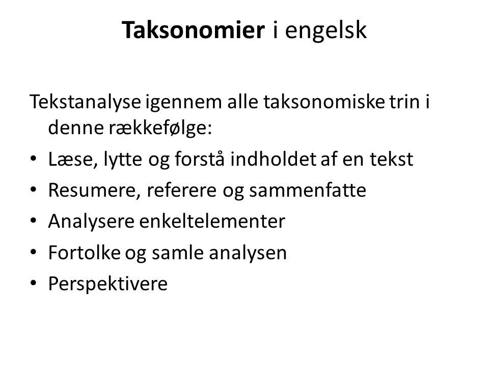 Taksonomier i engelsk Tekstanalyse igennem alle taksonomiske trin i denne rækkefølge: Læse, lytte og forstå indholdet af en tekst.