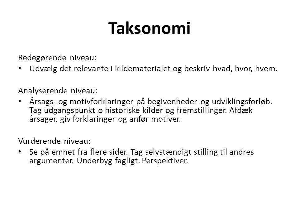 Taksonomi Redegørende niveau: