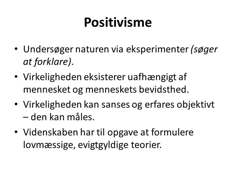 Positivisme Undersøger naturen via eksperimenter (søger at forklare).
