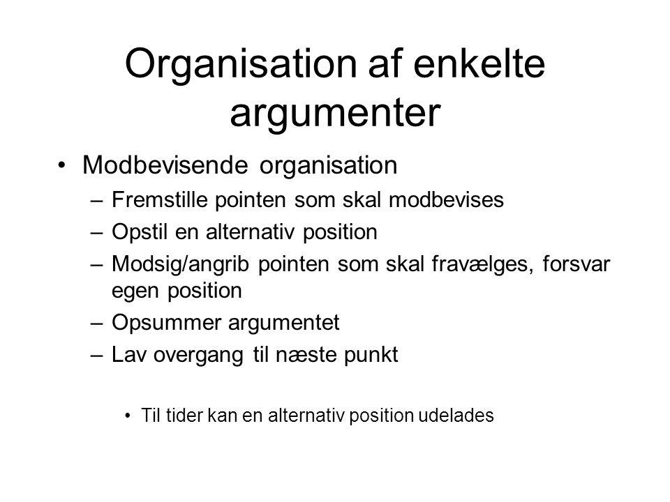 Organisation af enkelte argumenter