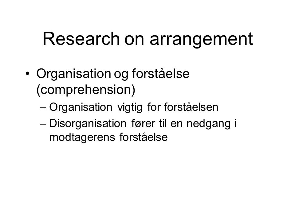 Research on arrangement