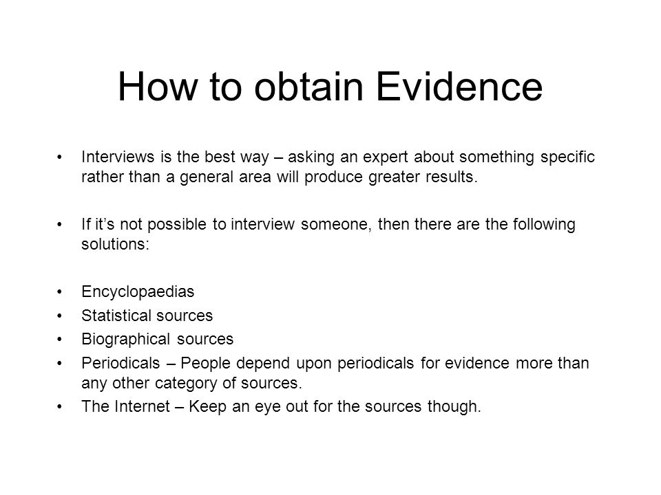 How to obtain Evidence