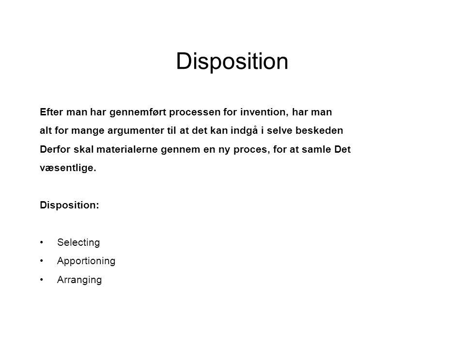 Disposition Efter man har gennemført processen for invention, har man