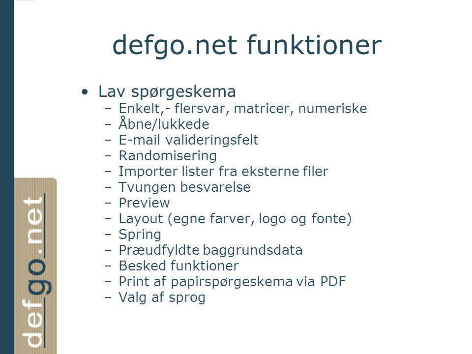 defgo.net funktioner Lav spørgeskema