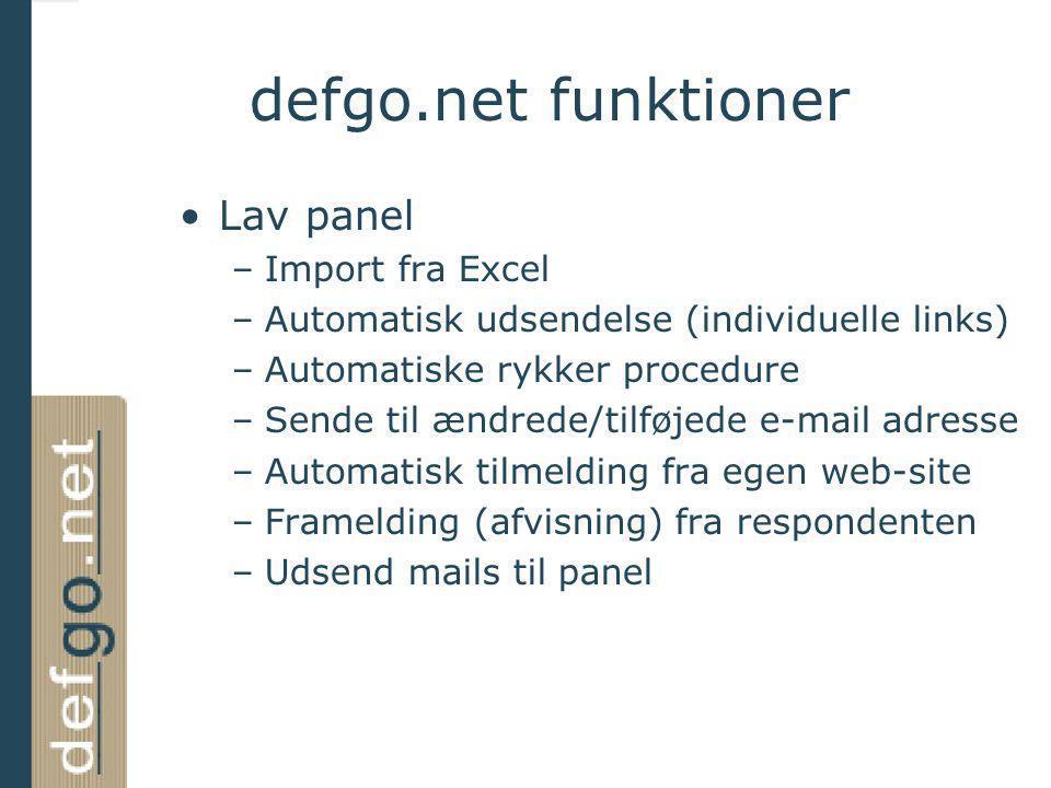 defgo.net funktioner Lav panel Import fra Excel