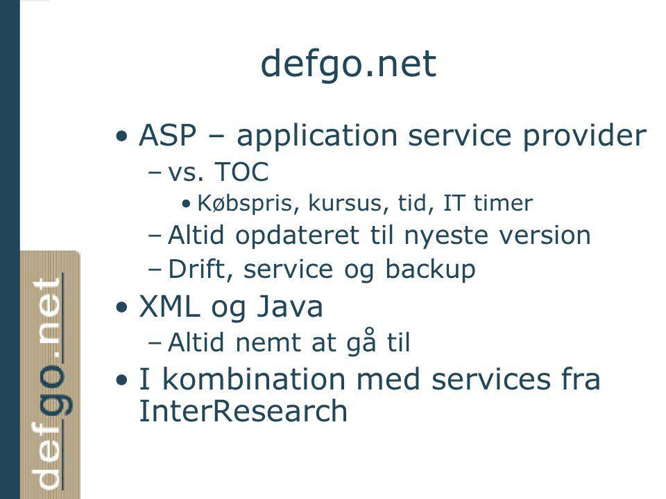 defgo.net ASP – application service provider XML og Java