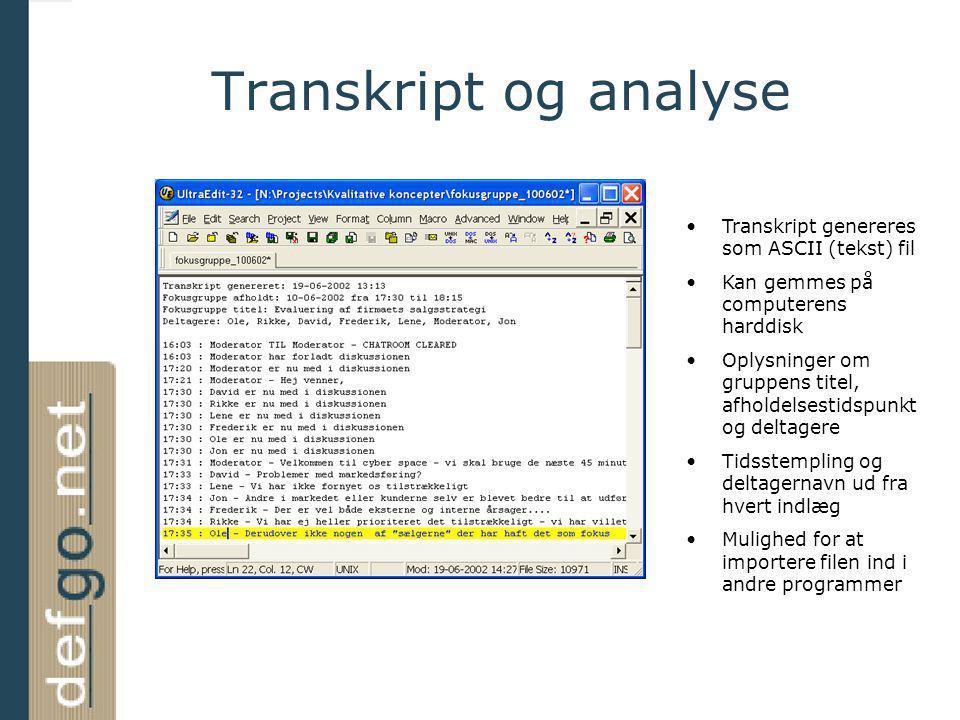 Transkript og analyse Transkript genereres som ASCII (tekst) fil