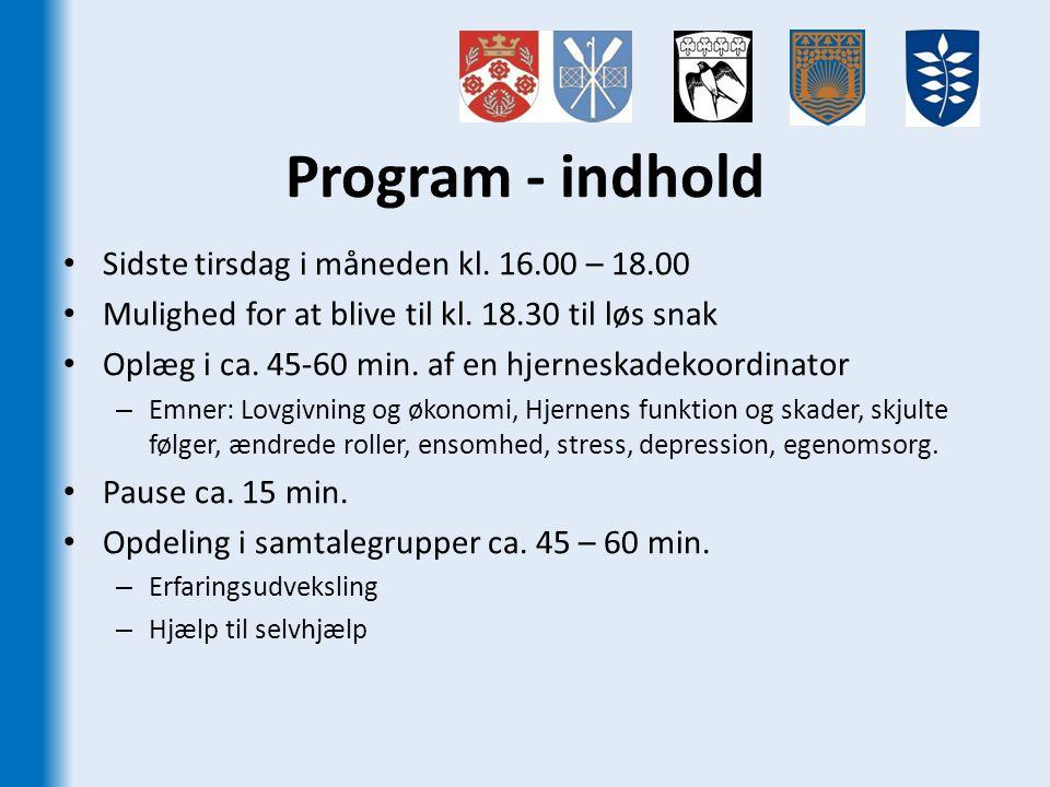 Program - indhold Sidste tirsdag i måneden kl. 16.00 – 18.00