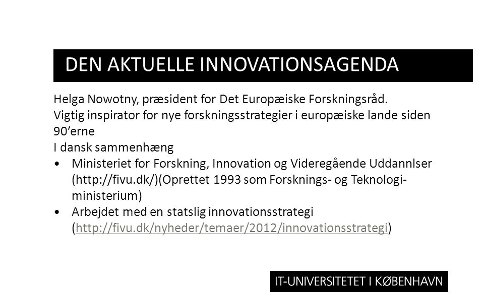den aktuelle innovationsagenda