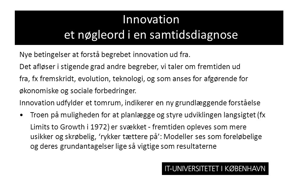 Innovation et nøgleord i en samtidsdiagnose
