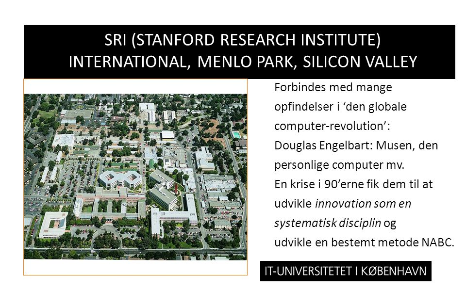 SRI (Stanford Research Institute) International, Menlo Park, Silicon valley