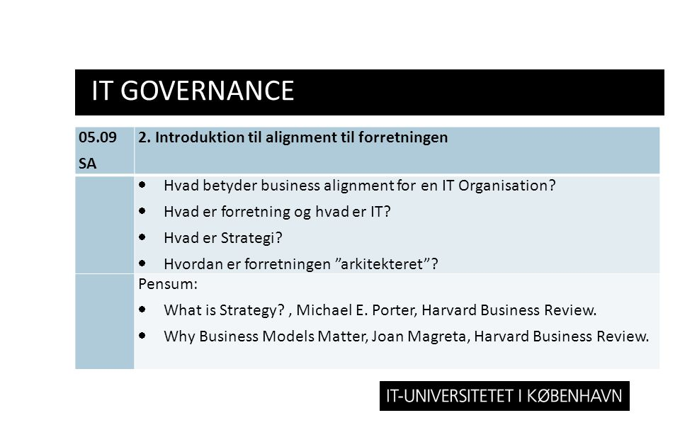 IT Governance 05.09 SA 2. Introduktion til alignment til forretningen