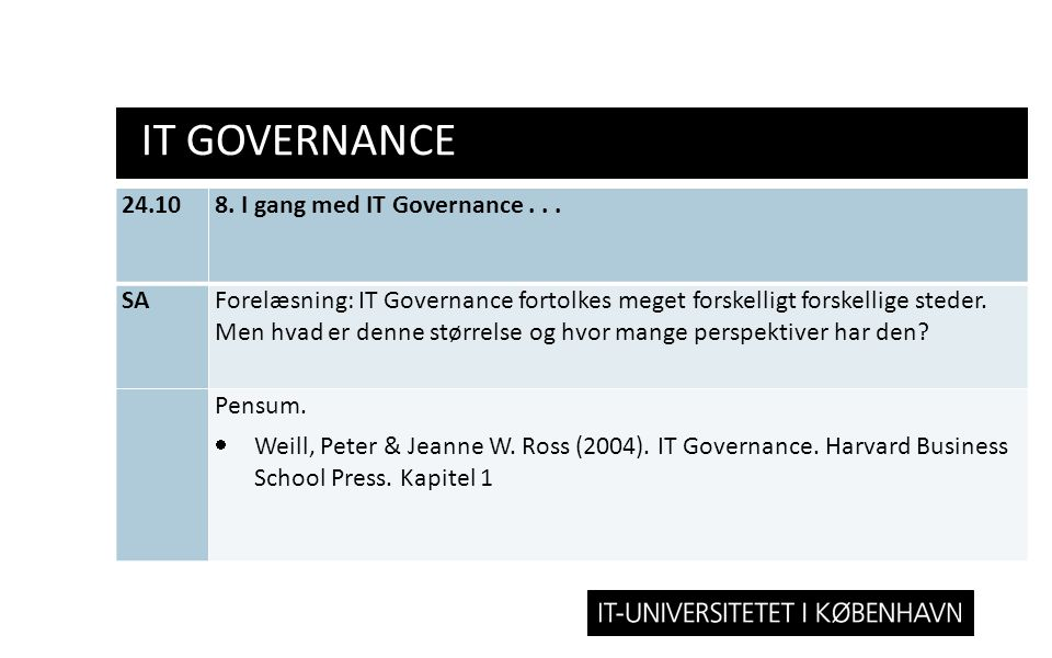 IT Governance 24.10 8. I gang med IT Governance . . . SA