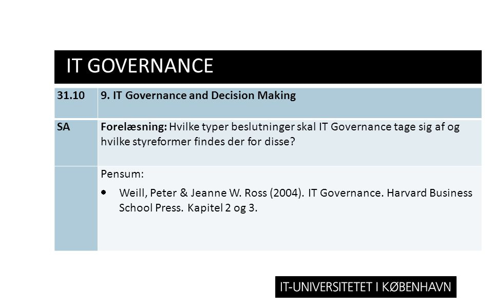IT Governance 31.10 9. IT Governance and Decision Making SA